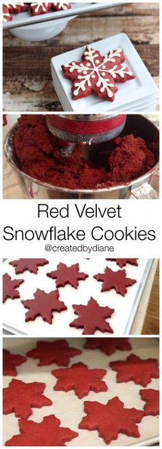 holiday cookies Red Velvet Snowflake Cookies ~ links to both the Red Velvet Cut Out Cookie Recipe and the Royal Icing Recipe Snowflake Christmas Cookies, Christmas Sweets, Christmas Cooking, Holiday Cookies, Holiday Baking, Christmas Desserts, Holiday Treats, Holiday Recipes, Winter Christmas