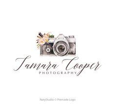 Camera logo watercolor logo graphic design premade logo design flowers logo…
