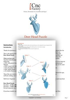 DEER HEAD 3D PUZZLE  Template cutting file  faux by CncFactory