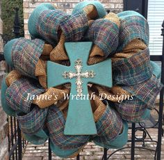 Burlap cross wreaths in turquoise   Jayne's Wreath Designs on fb