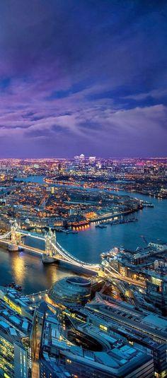 Evening Lights.  Thames River, London