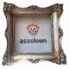 Instantly-Delivered PDFs | Subversive Cross Stitch | assclown pattern (frame sold in supplies shop)