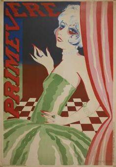 PRIMEVERE 1926 Lithogravure sur papier Signature et date en bas à droite : MAGRITTE 1926 ; mention d'imprimeur en bas à droite, imprimée verticalement : PUBLICITE MEUNIER.BRUXELLES Dimensions : 124 x 85,2 Origine : Acquis de Mr. Georges Max, Bruxelles, 1976 Musées royaux des Beaux-Arts de Belgique, Bruxelles