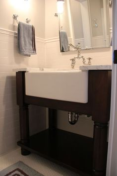 Here would be an alternative to a bathtub for bathing small children.  I never thought about an oversized sink in the bathroom.