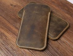 Distressed Brown leather iphone 6 case / by CanvasLeatherArt
