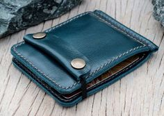 Teal leather money clip wallet