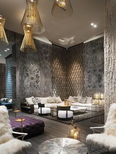 Living area/bar in the lobby of the W hotel Miami, metal sheets on top of marble cladding