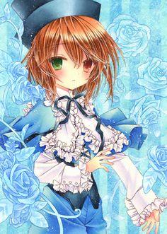 anime heterochromia / odd eyes green red (Souseiseki Rozen Maiden)