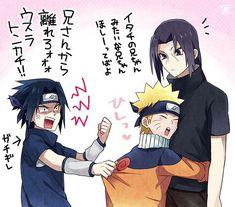 Sasuke Itachi and Naruto Naruto Vs Sasuke, Itachi Uchiha, Sasunaru, Naruto Uzumaki Shippuden, Naruto Comic, Anime Naruto, Naruto Cute, Narusasu, Sakura And Sasuke