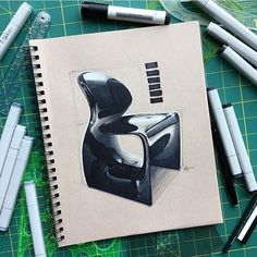 "3,475 Me gusta, 12 comentarios - designdaily.. (@letsdesigndaily) en Instagram: ""By @sketchypat - the MOOT Chair created by Ross Lovegrove. - - #sketching #render #markers #copic…"""