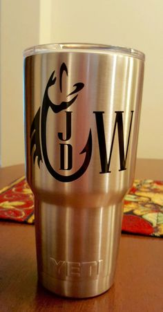 Fish Hook Moonogram Masculine Decal for Yeti, Cups, Coolers and more by GlittersandBows on Etsy