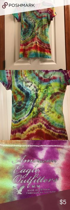 Hand tie dye American eagle tee Great used condition, hand tie dyed, very bright vibrant colors. American Eagle Outfitters Tops
