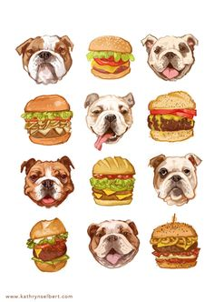 A super fun illustration of bulldogs and burgers. Luscious tasty burgers and sweet wrinkly bulldogs - why not! The printed image is in Art And Illustration, Food Illustrations, Bullen, Fine Art Prints, Character Design, Cute Animals, Cartoon, Drawings, Artwork