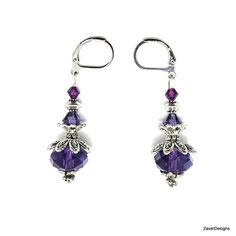 Purple Crystal Earrings Drop Earrings Crystal Drop by ZaverDesigns