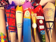 Queen's batons to celebrate Glasgow 2014 Commonwealth Games. Art lesson.