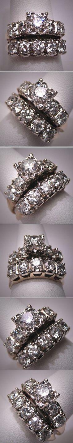 Antique Wedding Ring Set Vintage Diamond Art Deco Wt. Gold Three Carats