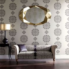 Shop for Wallpaper at Style Library: Susa by Harlequin. A luxurious circular motif design inspired by Persian and Indian influences. Harlequin Fabrics, Harlequin Wallpaper, Wallpaper Decor, Fabric Wallpaper, Interior And Exterior, Interior Design, Stunning Wallpapers, Susa, Contemporary Fabric