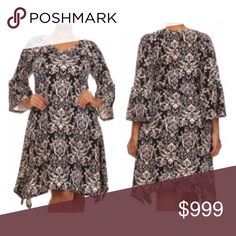"""(Plus) Damask print dress Damask print dress. 96% polyester/ 4% spandex. Super soft and stretchy! Bell sleeves. Absolutely gorgeous- photos do not do this justice!  XL: L 39"""" B 40"""" 2x: L 40"""" B 42""""  3x: L 40"""" B 44"""" ⭐️This item is brand new from manufacturer without tags.  🚫NO TRADES 💲Price is firm unless bundled 💰Ask about bundle discounts Availability: XL•2x•3x • 2•2•2 Dresses Asymmetrical"""