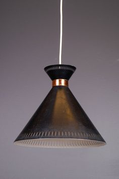 Valinte pendant lamp (painted metal,brass) Vintage lights by Finnish lighting company Valinte (later Lampukas). Painted Metal, Vintage Lighting, Metallic Paint, Pendant Lamp, Lamp Light, Lamps, Brass, Ceiling Lights, Interior