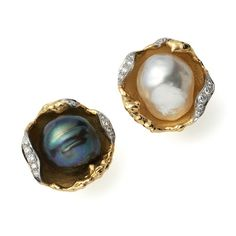 """PEARL EARCLIPS, 1972 White and Black Pearls set in Yellow Gold """"Oyster Shells"""" with Diamonds by Andrew Grima"""