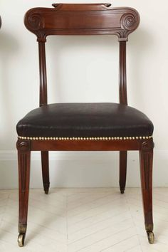 A Pair of English Regency Mahogany Side Chairs 3