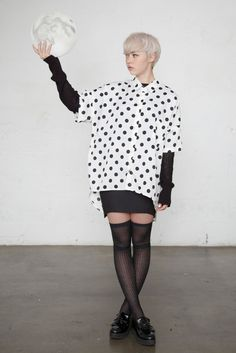 Unbalance Polka Dot Blouse White