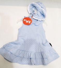Vestido de lunares con gorrito a tono... MODA INFANTIL | Figi's