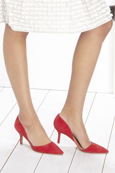 Suede mid heel pumps in bright red