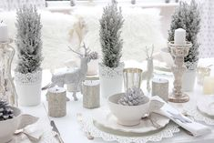 Indoor Winter Wonderland | White Shabby Chic Christmas Table Decor from White and Shabby Blog | hearthandmadeuk