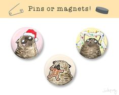 Brindle Pug Christmas Pins or Magnets