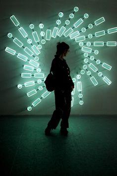 Brigitte Kowanz at MOMOK. neon lights installation