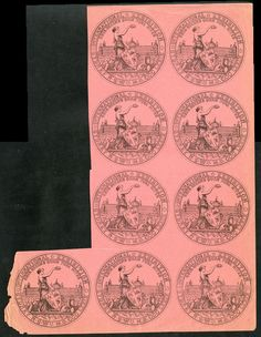 NEW SOUTH WALES - 'CINDERELLAS': 1879 International Exhibition printed facsimile of the Exhibition medal in black/pink block of 9 (2x4… / MAD on Collections - Browse and find over 10,000 categories of collectables from around the world - antiques, stamps, coins, memorabilia, art, bottles, jewellery, furniture, medals, toys and more at madoncollections.com. Free to view - Free to Register - Visit today. #Stamps #MADonCollections #MADonC South Wales, Bottles, Mad, Stamps, Coins, The Past, Auction, Collections, Australia
