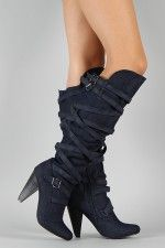 Fahrenheit Luga-05 Denim Strappy Slouched Knee High Boot. Thinking about getting these. I need new boots