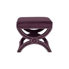 Safavieh Dante X-Bench Purple Ottoman (€190) ❤ liked on Polyvore featuring home, furniture, ottomans, nailhead furniture, purple ottoman, bears furniture, bear ottoman and colored furniture