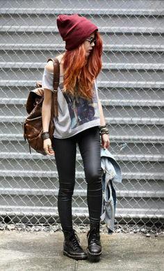 Grunge fashion - slouchy beanie, leather leggings, oversized shirt, combat boots <3