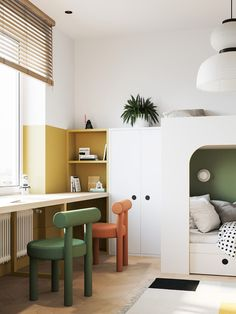 Minimalist Interior, Modern Interior, Kids Bed Design, Interior Minimalista, Kid Beds, Interiores Design, Room Interior, Kids Bedroom, Furniture Design