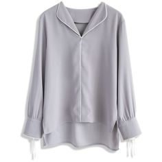 Chicwish Culminate in Charm Chiffon Shirt in Grey ($42) ❤ liked on Polyvore featuring tops, blouses, grey, grey blouse, chiffon tops, gray top, grey shirt and grey chiffon blouse