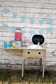 Sewing machine cabinet repurposed as a drink station