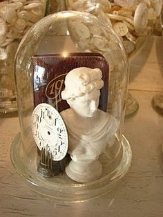 GLASS DOME AND CLOCK FACE, BOOK AND BUST (OR OTHER COMBO)