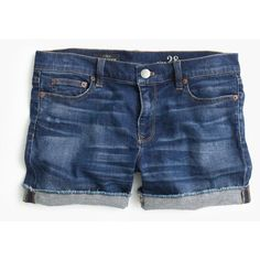 J.Crew Denim Short ($48) ❤ liked on Polyvore featuring shorts, bottoms, pants, denim, stretch shorts, stretchy jean shorts, short jean shorts, stretchy denim shorts and jean shorts