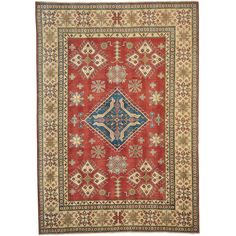 "1800getarug Hand Knotted Oriental Rug Tribal Design Kazakh (8' x 11') (Exact Size: 8'0"" x 11'0""), Red, Size 8' x 11'"