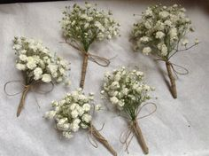 Micro bouquet of gyp for these boutonnières wrapped in twine. Ellerymay la Fleuriste