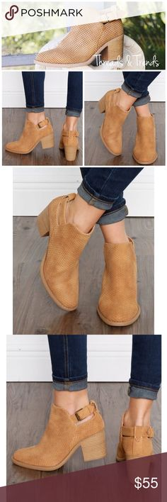 Coming Soon! Laser Cut Tan Booties Stylish laser cut booties, featuring a chunky heel and buckle closure. Great go to tan color for any wardrobe. Pair with skirts, dresses, denim, pants or leggings. Threads & Trends Shoes Ankle Boots & Booties