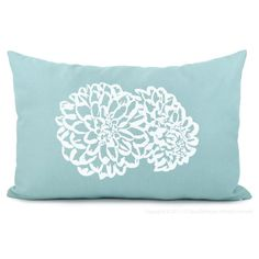 Floral pillow cover - Aqua and white decorative pillow cover with flower print - 12x18 lumbar pillow cover - Shabby chic home decor