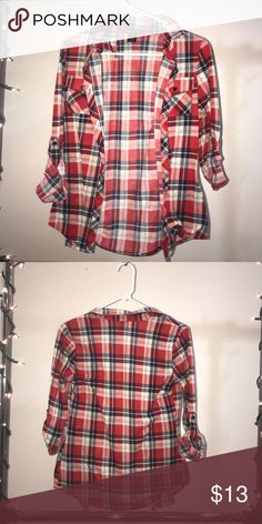 Soft Flannel Soft Red Flannel Comfy Button-down Wet Seal Tops Button Down Shirts