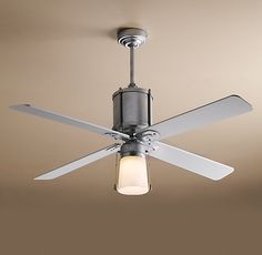 BOYS ROOM  Industry Fan. Can swap out the glass shade for something else like a metal one.