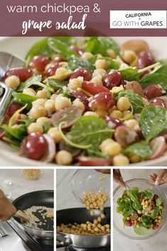 Warm Chickpea and Grape Salad Chickpea Recipes, Vegan Recipes, Cooking Recipes, Summer Dessert Recipes, Salad Recipes For Dinner, Grape Salad, Fruit Salad, Grape Recipes, Salad Ingredients