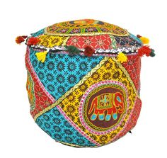 Find fun ottomans and plush poufs in a variety of shapes and fabrics at JaipurHandloom.com. These are completely handmade and made of vintage saris, beads, stones, mirrors, antique threads and many other fabrics. These vintage patches are made of old antique precious wedding saris. Comfortable Seating,Handpicked Designs & Much More,Limited Stock! Easy Return Policy. FREE Shipping on all items.