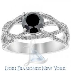 2.45 Carat Certified Natural Black Diamond Engagement Ring 14k White Gold - Black Diamond Engagement Rings - Engagement - Lioridiamonds.com