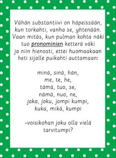 aikamuodot ja pronominit Finnish Language, Finland, Poetry, Teaching, Writing, School, Opi, Schools, Learning